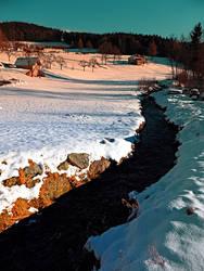 Black stream in winter wonderland by patrickjobst