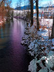 Quiet river in winter time