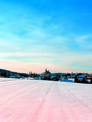 Village scenery in winter wonderland by patrickjobst