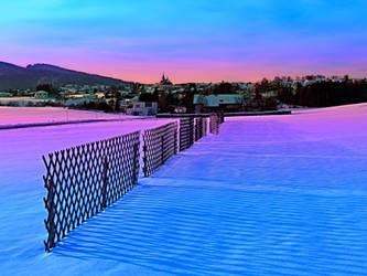Fences on a winter sundown by patrickjobst