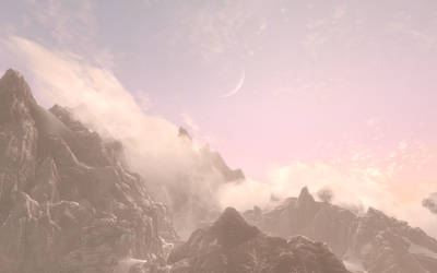 Skyrim Screenshot____ Misty Mountain by Salmoonella