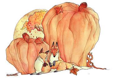 autumn foxes by muura