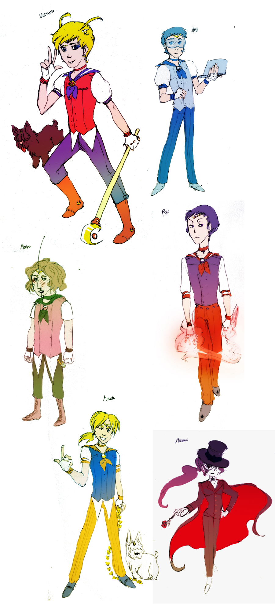 sailor moon genderbends by muura