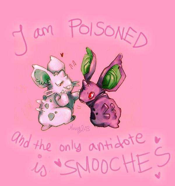 Nidoran smooches for Valentines by muura