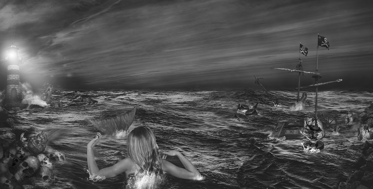 Shipwrecked in Black And White by xxPseudOxx