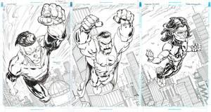 Invincible, Omni-Man and Oliver (Triple spread)
