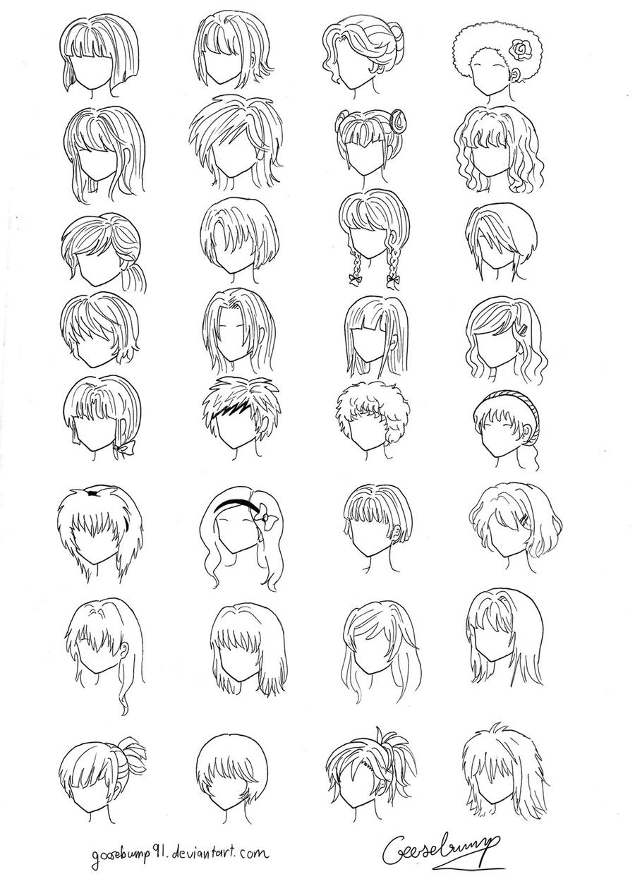 manga character template - 32 anime and manga hair styles by goosebump91 on deviantart