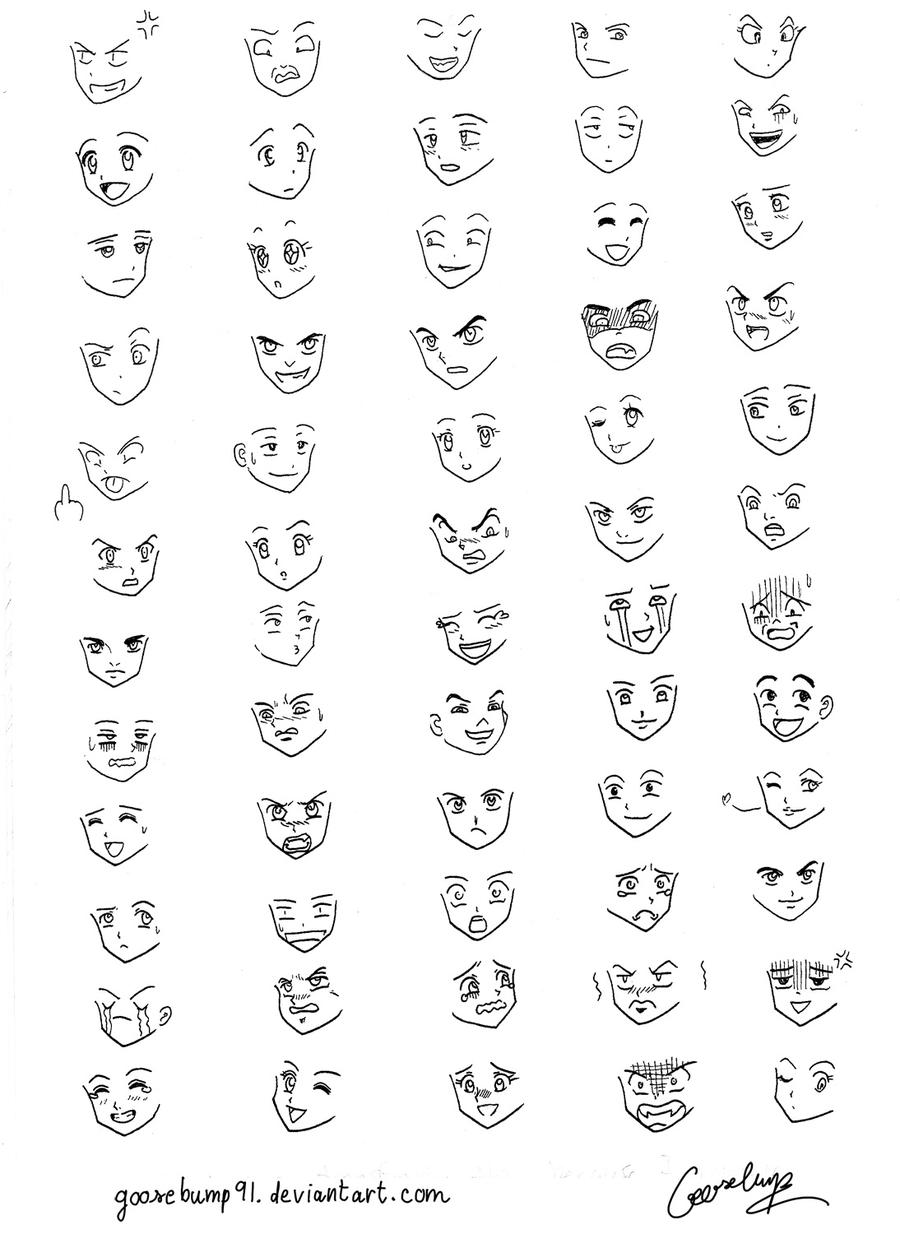 60 Manga and Anime Expressions by goosebump91 on DeviantArt