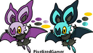 Shiny Noibat and Noibat [MS Paint] by pixelizedgamer
