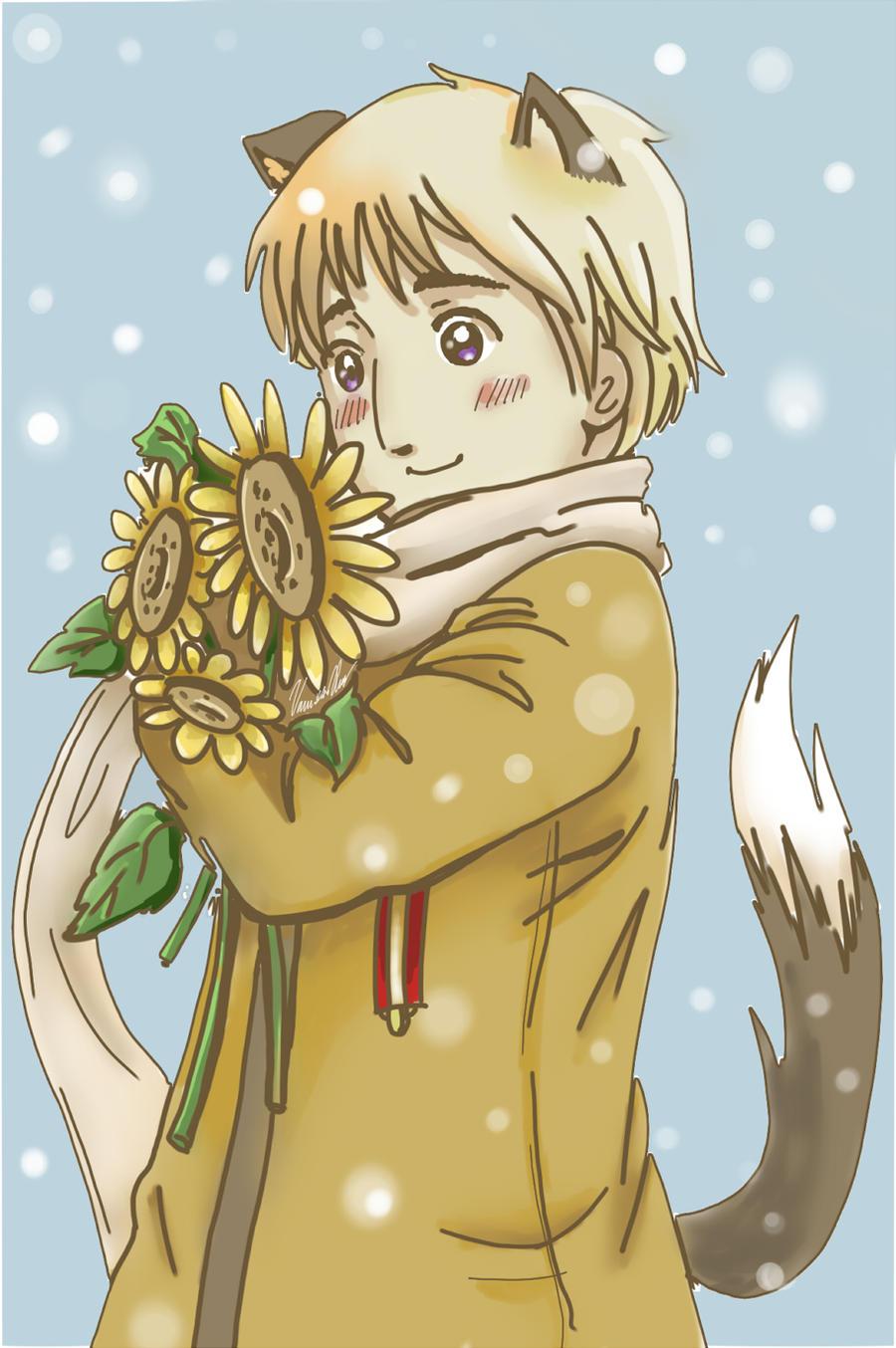Russia and his Sunflowers by wicca2star11