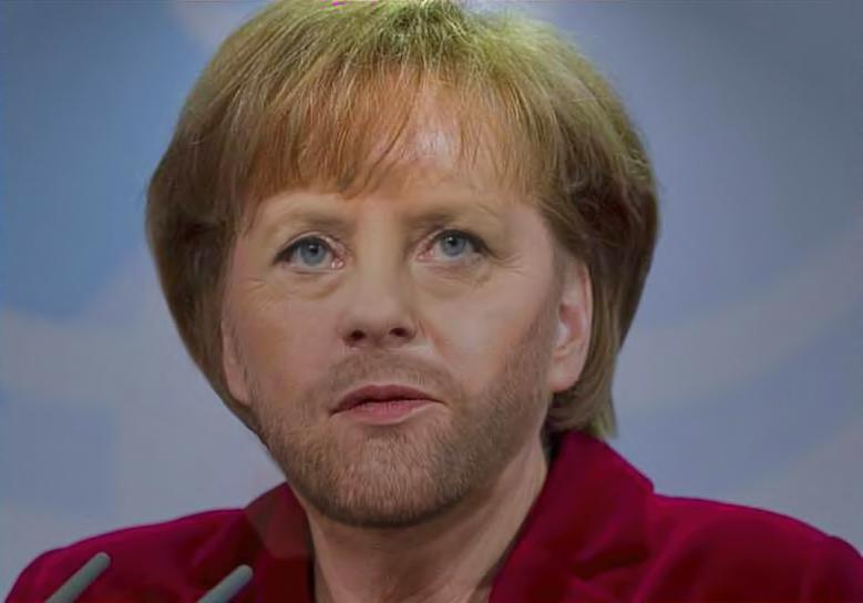 Merkel with a Beard by AGummyBear