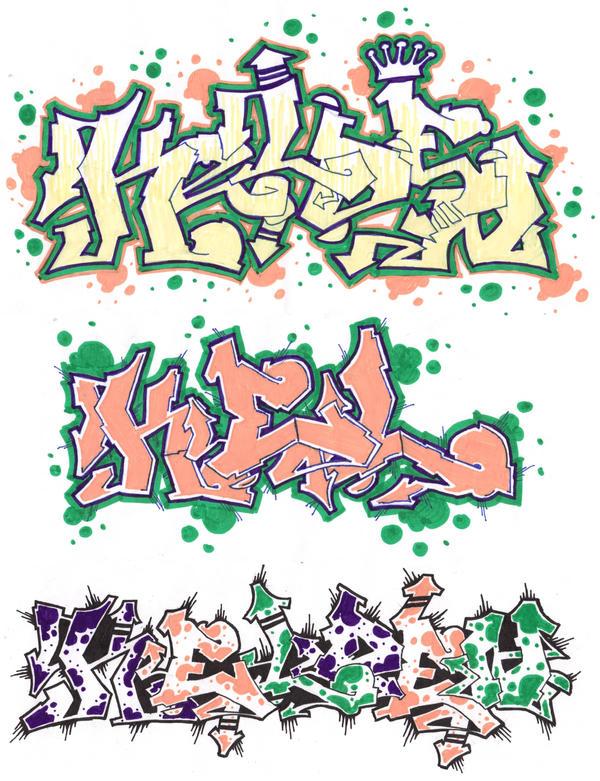 Different graffiti styles by kelden17