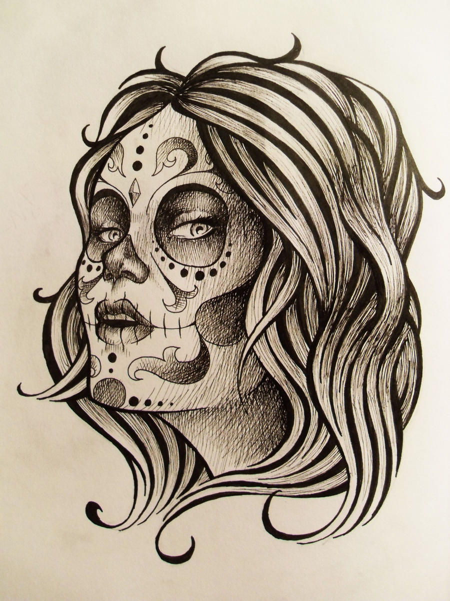 Day of the dead tattoo design by kelden17 on deviantart for Day of the dead tattoo designs