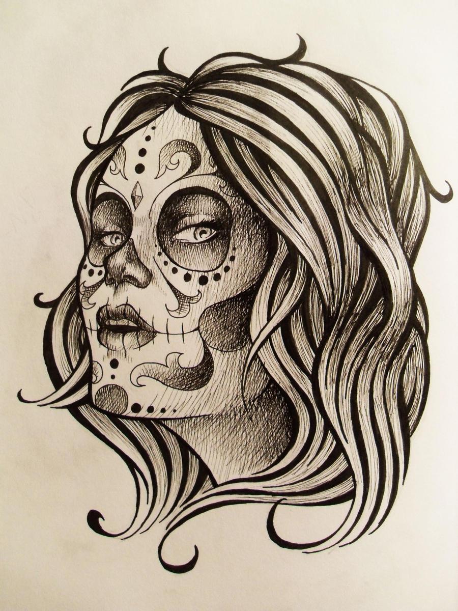 day of the dead tattoo design by kelden17 on deviantart. Black Bedroom Furniture Sets. Home Design Ideas
