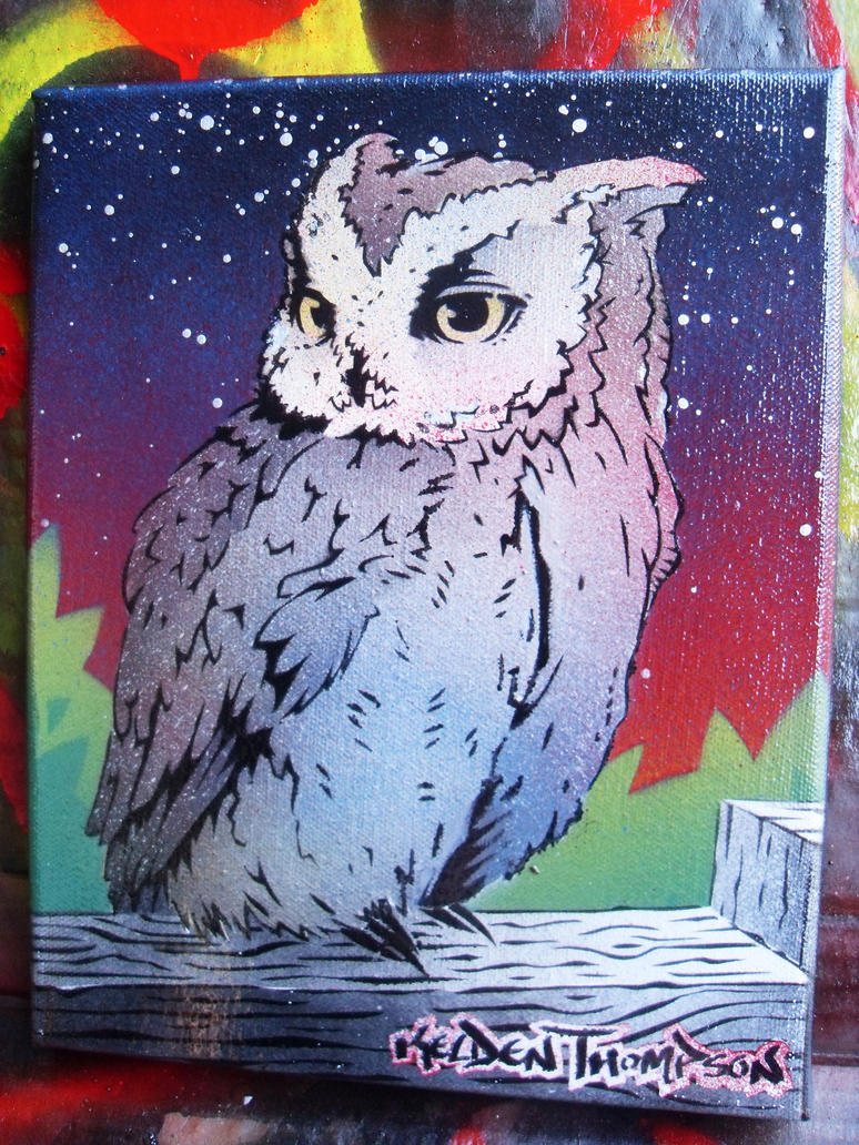 Owl Stencil Painting by Kelden17
