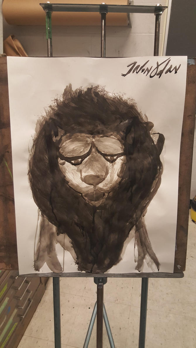Lion ink wash painting by JSPatronus