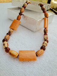 Wood and Carnelian Necklace by kjtgp1