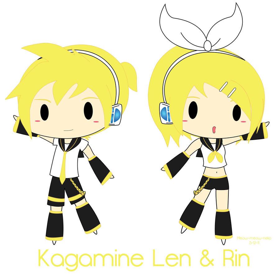 Kagamine Len Neko Kagamine Len Rin Chibis by