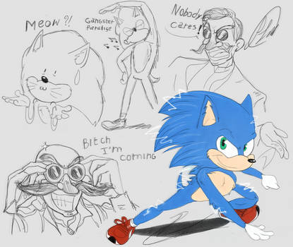 Sonic movie 2019 trailer doodles by fnafmangl