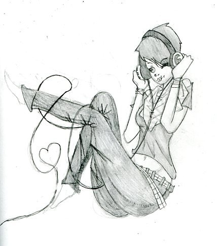 Girl listening to music by fuufuublue on DeviantArt