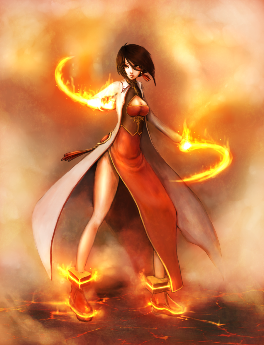 Power of fire by yanniplum on deviantart - Anime girls with fire ...
