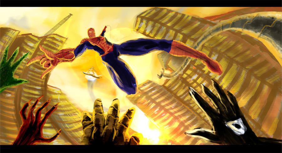 Spider-man vs custom Sinister Six by PaulVincent