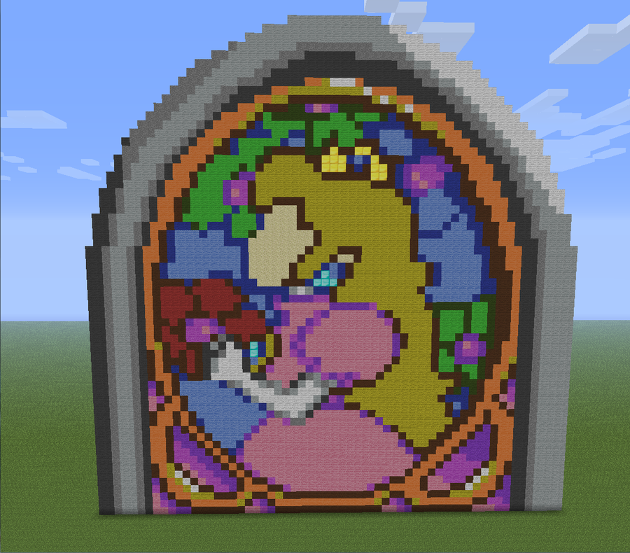 Princess Peach Portrait, Minecraft Pixel Art By Boltyhead