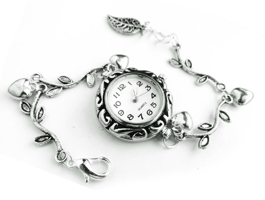 SOLD - Silver Bracelet Watch - Silver Leaf Charm by crystaland