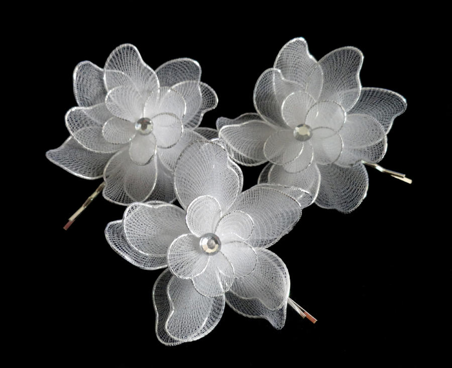 Sold silver white fabric flower hairpins by crystaland on deviantart sold silver white fabric flower hairpins by crystaland mightylinksfo
