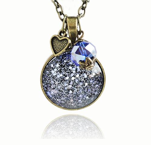 Cosmic Galaxy Purple Blue Glitter Bronze Necklace by crystaland