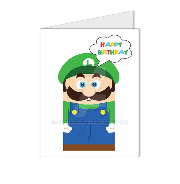 Super Mario Luigi Video Game Birthday Card By Crystaland On Deviantart