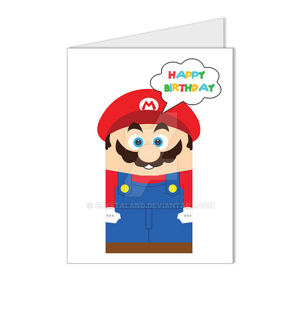 Super Mario Video Game Happy Birthday Card By Crystaland On Deviantart
