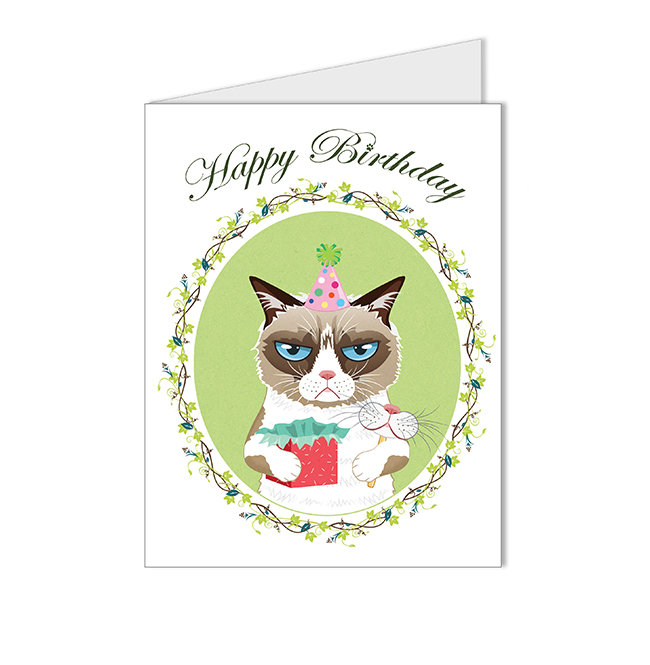 Grumpy cat illustration happy birthday blank card by crystaland on grumpy cat illustration happy birthday blank card by crystaland bookmarktalkfo Image collections