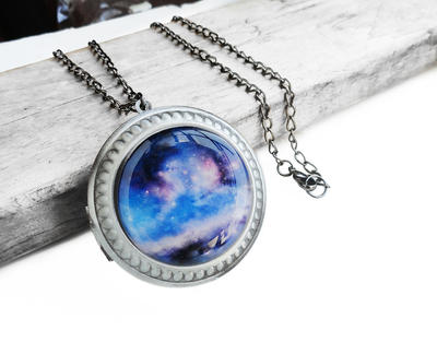 Handmade Resin Blue Purple Galaxy Locket Necklace by crystaland