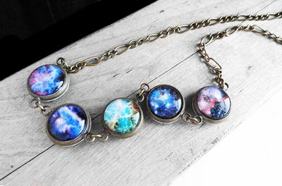 Handmade Resin Galaxy Nebula Bronze Necklace by crystaland