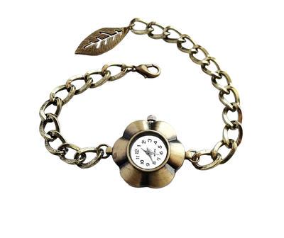 Antique Bronze Flower Shape Quartz Watch Bracelet by crystaland