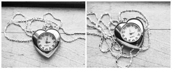 Silver Heart Shape Quartz Watch Pendant Necklace by crystaland