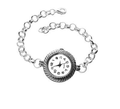 Twisted Rope  Silver Quartz Watch Bracelet by crystaland
