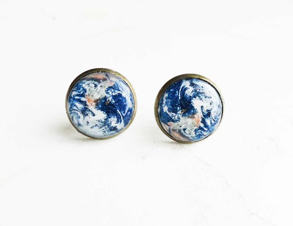 Planet Earth Antique Bronze Stud Earrings by crystaland