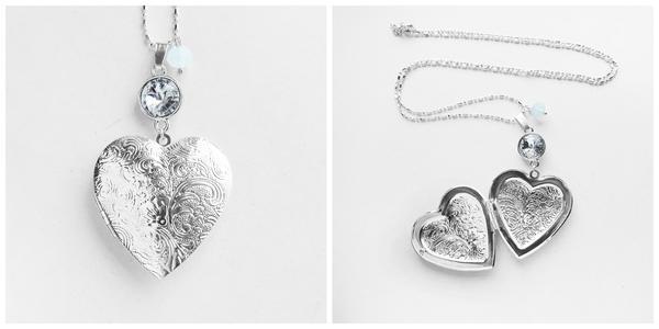Swarovski Crystal Silver Big Heart Locket Necklace by crystaland