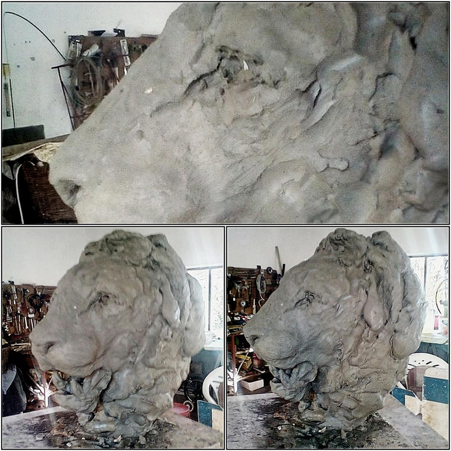 Lion bust update by Waspdrake
