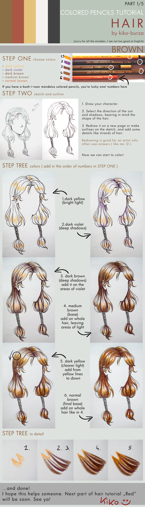 Colored pencils tutorial HAIR part 1 - BROWN by kiko-burza