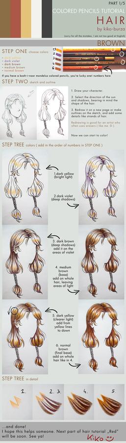 Colored pencils tutorial HAIR part 1 - BROWN