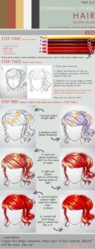 Colored pencils tutorial HAIR part 2 - RED