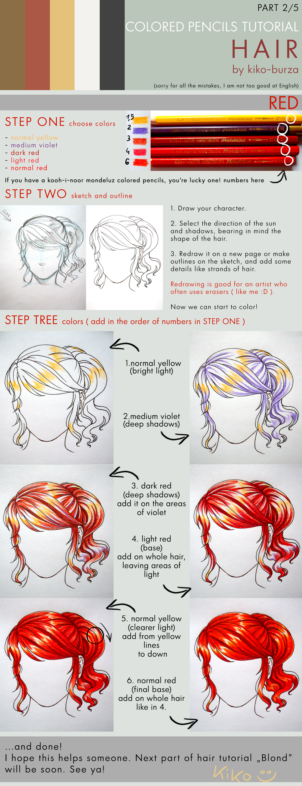 Colored pencils tutorial hair part 2 red by kiko burza