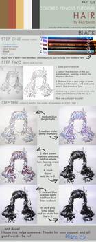 Colored pencils tutorial HAIR part 5 - BLACK