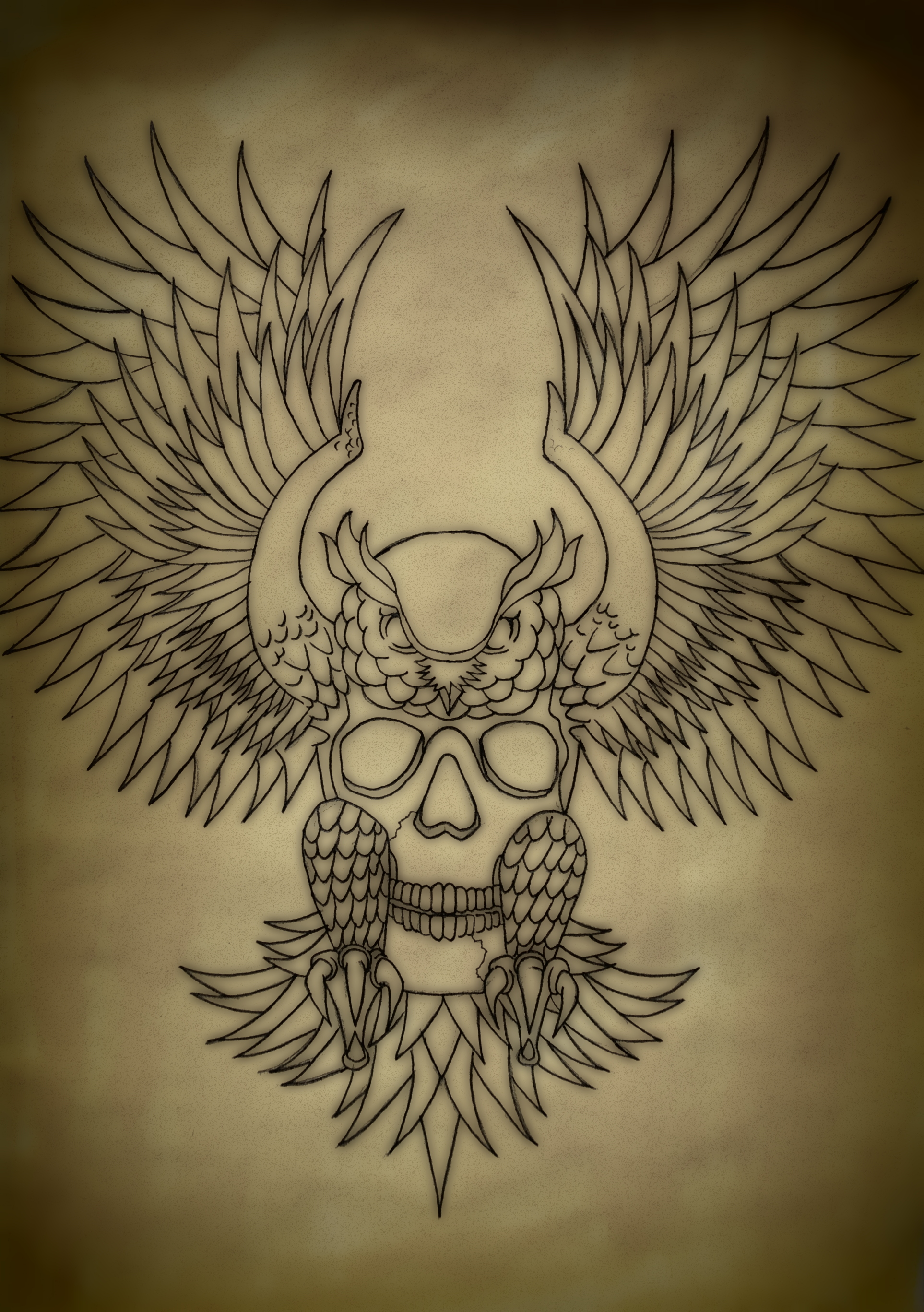 Traditional Owl Tattoo Flash