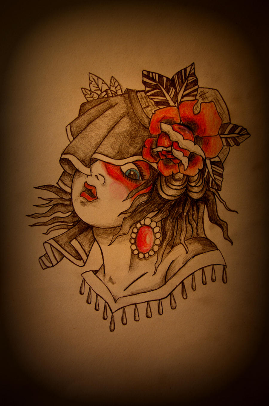 traditional gypsy tattoo flash by battered n bruised on deviantart. Black Bedroom Furniture Sets. Home Design Ideas