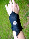 Black Celtic Leather Wrap Cuff