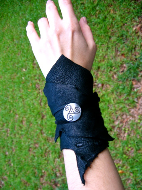 Black Celtic Leather Wrap Cuff by EireCrescent